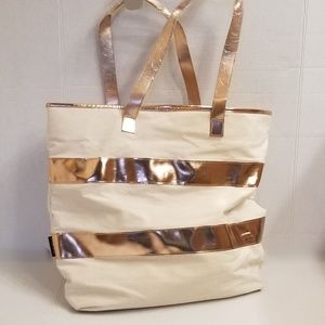 Lancome Striped Large Tote Purse NWOT
